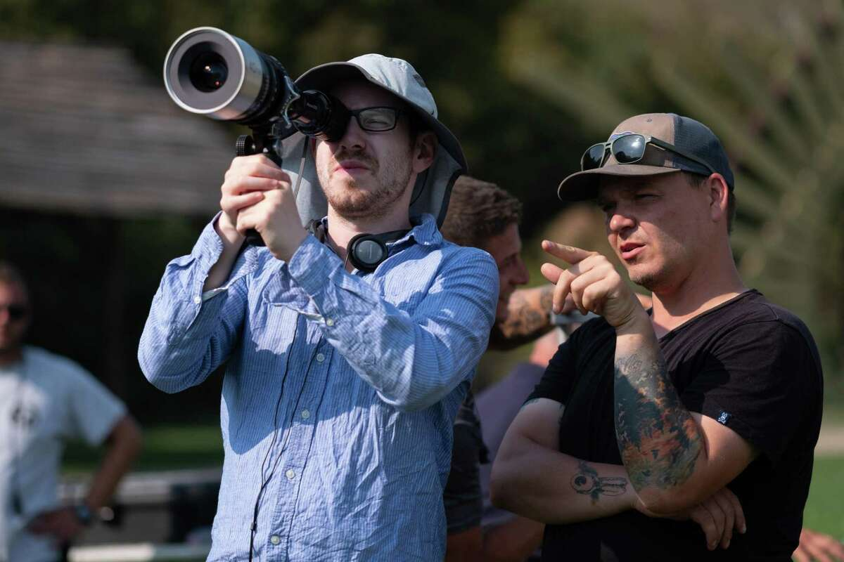 Director Ari Aster (left) on the set of 'Midsommar'