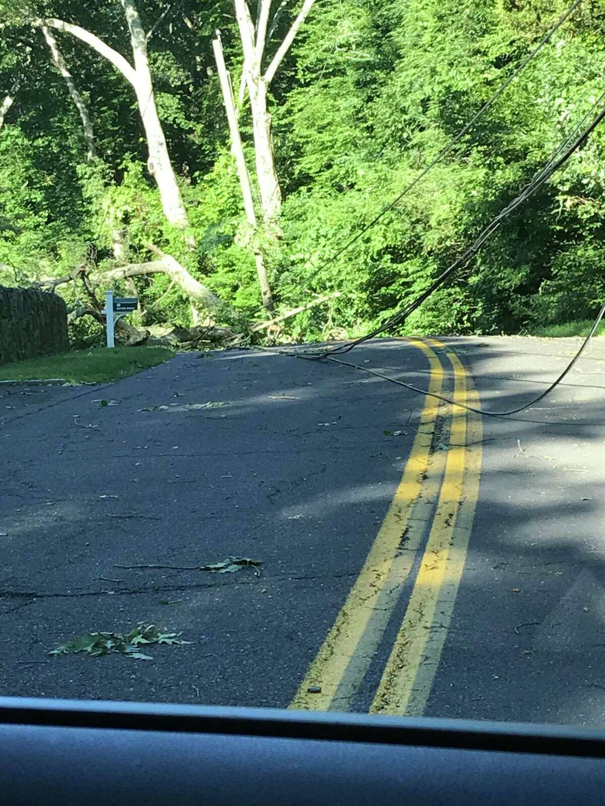 An area of River Road blocked by tress on power lines. Taken at 11 a.m. in Weston, CT.
