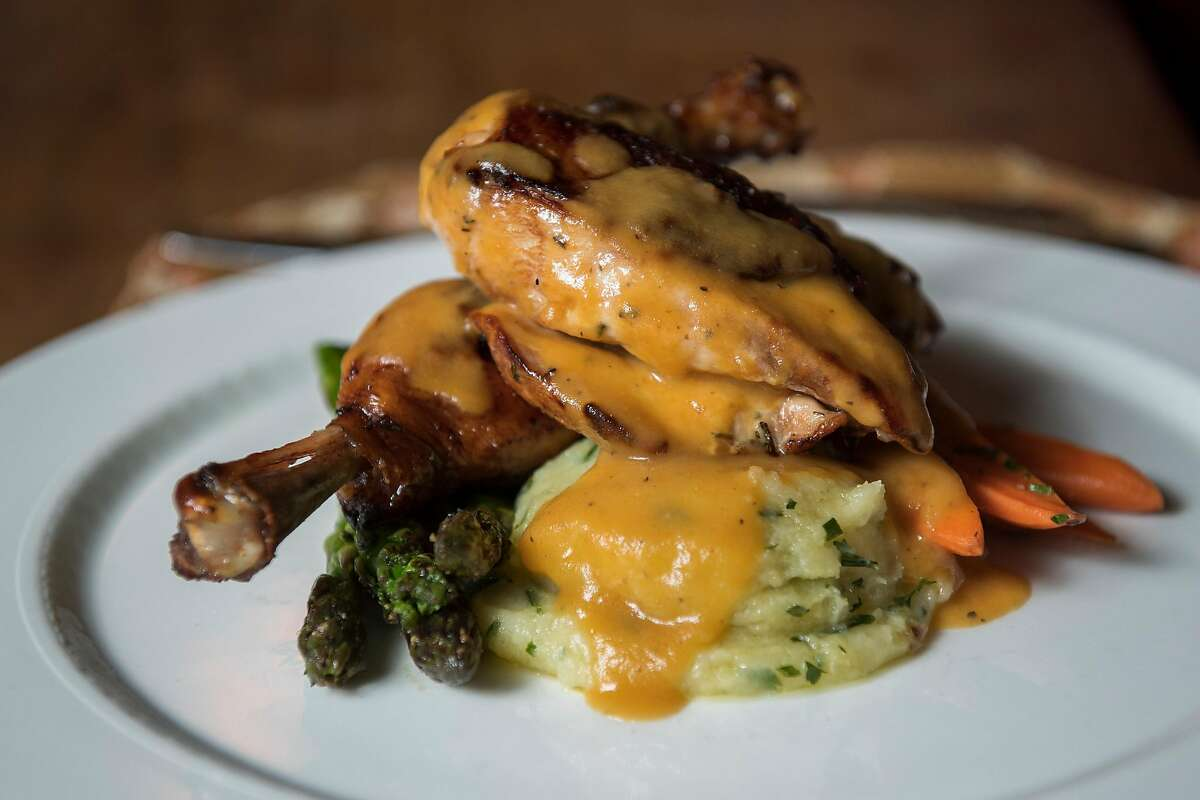 Herb-roasted chicken at Deetjen's Big Sur Inn in Big Sur, Calif. in June 2019.