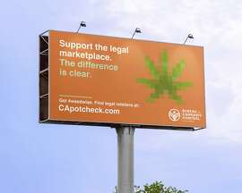 This undated artist rendering provided by the Bureau of Cannabis Control shows a proposed billboard urging consumers to purchase cannabis from only licensed retailers. Aiming to slow illegal pot sales that are undercutting the licensed market, California is kicking off a public information campaign, Get #weedwise, encouraging consumers to verify that the product they are about to buy is tested and legal. (Bureau of Cannabis Control, via AP)