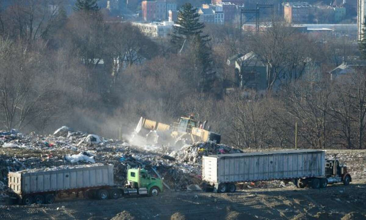 A view of work being done at the Dunn C&D Landfill on Monday, Jan. 14, 2019, in Rensselaer, N.Y. The city of Albany is seen in the background.