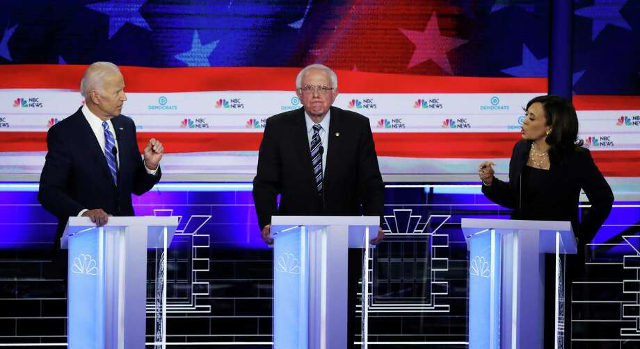 California Sen. Kamala Harris, right, was the star of the second portion of the Democratic debate last week, making Vice President Joe Biden, left,  look like a man of yesterday. Photo: Drew Angerer /Getty Images / 2019 Getty Images