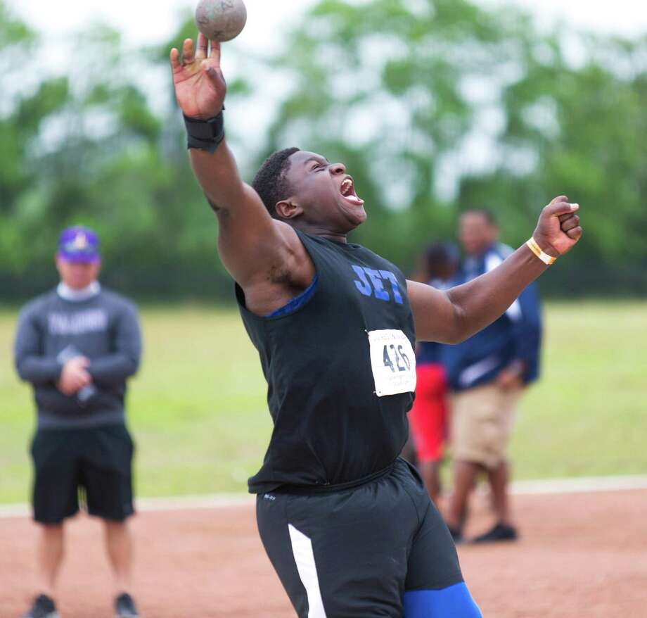 Otito Ogbonnia of Katy Taylor reacting as he is throwing the put during the shot put competition during UIL Region II 6-A Track & Field Championship at the Challenger Columbia Stadium, Friday, Apr. 29, 2016, in Houston. (Juan DeLeon / For the Houston Chronicle) Photo: Juan DeLeon / For The Chronicle / Houston Chronicle