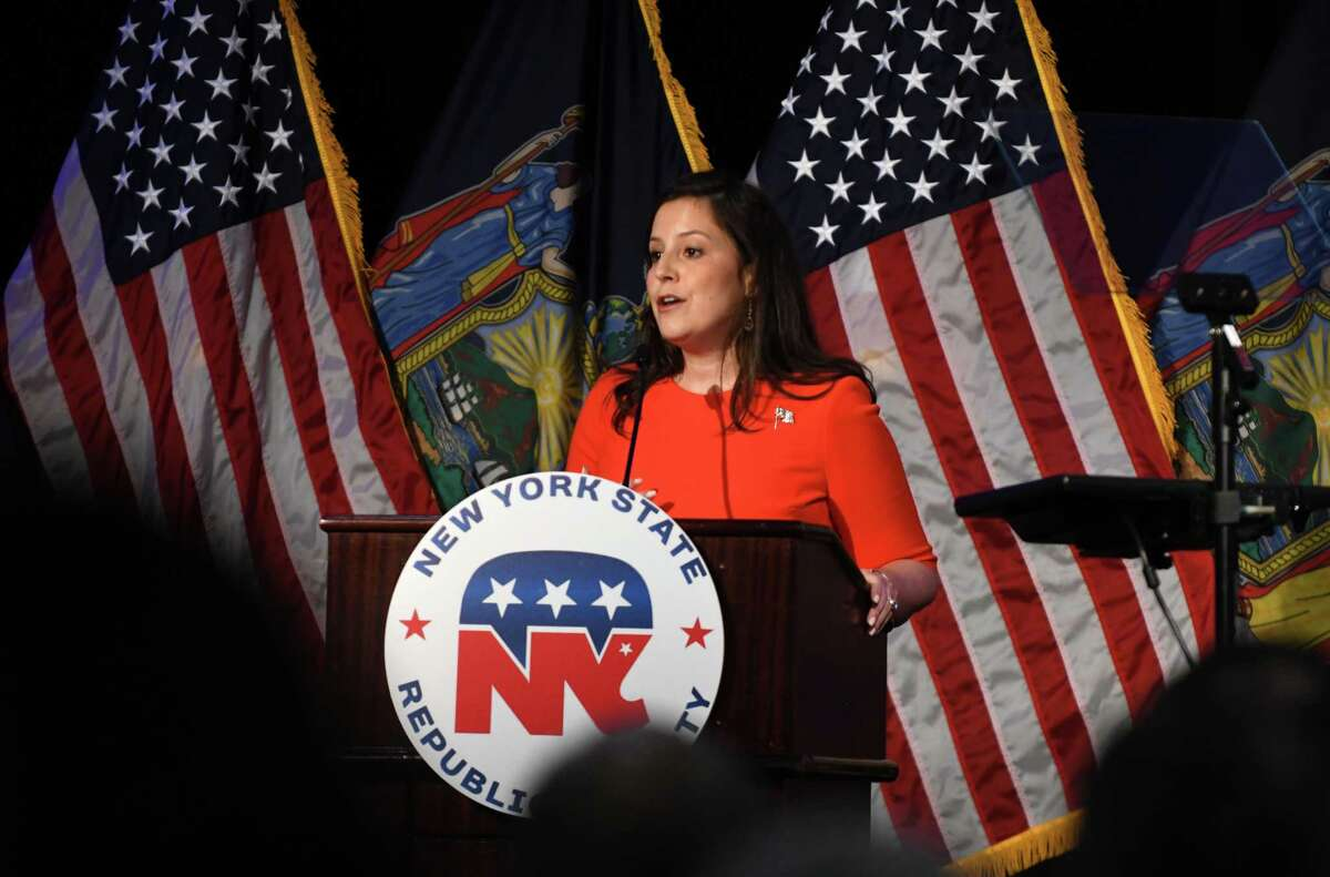 U.S. Rep. Elise Stefanik speaks during the annual New York Sate Republican reorganizational meeting on Monday, July 1, 2019, at the Marriott in Colonie, N.Y. (Will Waldron/Times Union)