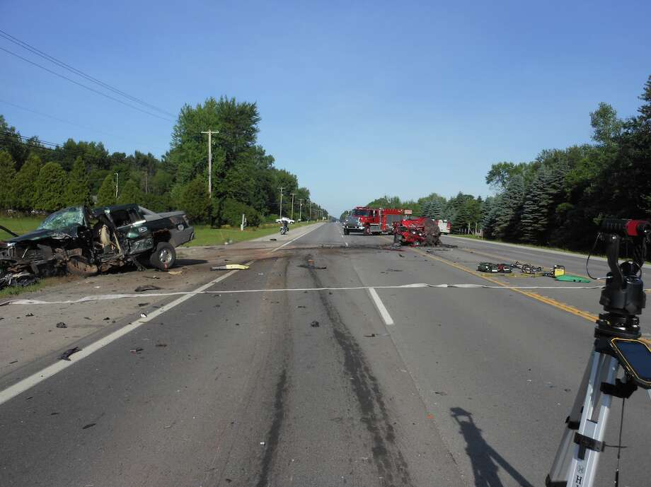 A photo taken from the scene of a three-vehicle crash on M-20 near Vroman Road in Chippewa Township on June 30, 2019. Photo: Photo Provided/Isabella County Sheriff's Office