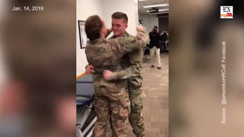 The heartfelt reunion of a military couple at San Antonio's Fort Same HoustonThe video shows Army lieutenant Jamie Douglas sneaking up on husband Jordan Pruitt, also a 2nd LT, as he sat in a class for his Doctorate of Physical Therapy program. The couple had been separated for eight months as Douglas was deployed in Iraq. Watch the long-awaited embracehere.