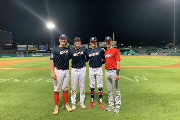 Memorial baseball players Ben Dukes, Thomas Vincent, Jack Riedel and Blake Rottino played in the 2019 Houston Area Baseball Coaches Association Futures Game at Constellation Field.