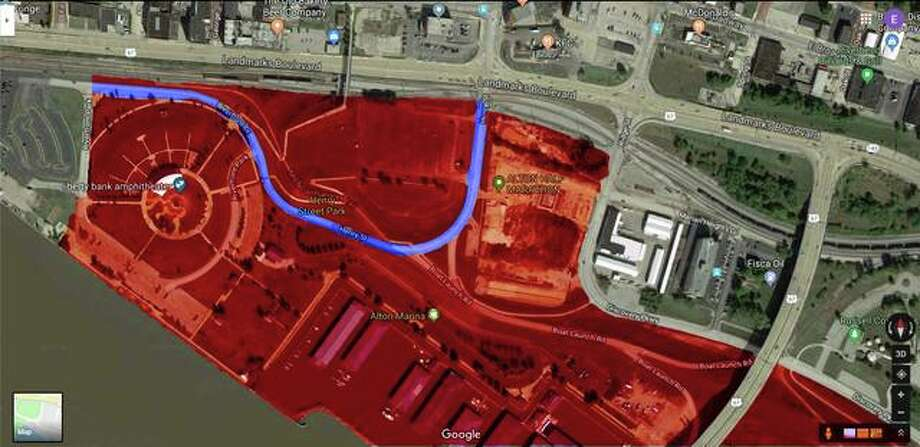 The Alton Police Department on Monday issued images of the riverftont highlighting the areas that are off-limits to spectators. The areas highlighted in red are closed to the public all day Wednesday. The roadway highlighted in blue (Henry South of Landmarks) will be closed from 9:15 p.m. until 10:20 p.m. to provide the necessary safety zone for the fireworks. Photo: Alton Police Department