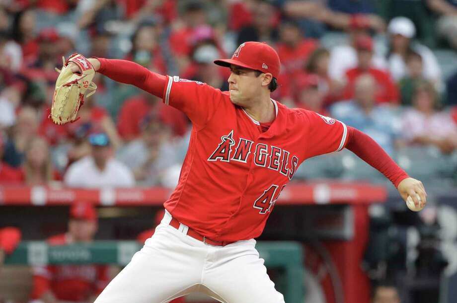 Los Angeles Angels starting pitcher Tyler Skaggs throws to the Oakland Athletics during the first inning of a baseball game Saturday, June 29, 2019, in Anaheim, Calif. (AP Photo/Marcio Jose Sanchez) Photo: Marcio Jose Sanchez, STF / Associated Press / Copyright 2019 The Associated Press. All rights reserved.