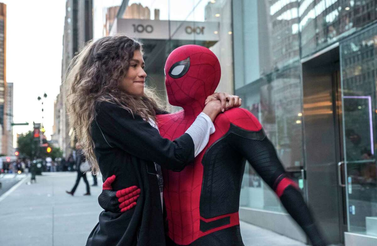 This image released by Sony Pictures shows Zendaya, left, and Tom Holland in a scene from