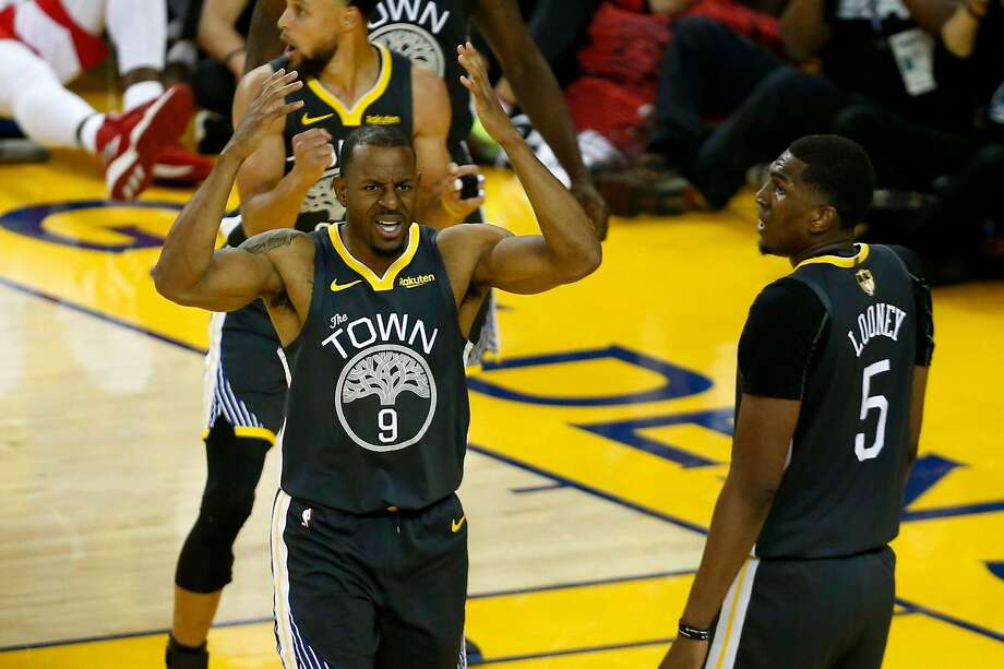 OAKLAND, CALIFORNIA - JUNE 13:  Andre Iguodala #9 of the Golden State Warriors reacts against the Toronto Raptors in the second half during Game Six of the 2019 NBA Finals at ORACLE Arena on June 13, 2019 in Oakland, California. NOTE TO USER: User expressly acknowledges and agrees that, by downloading and or using this photograph, User is consenting to the terms and conditions of the Getty Images License Agreement. (Photo by Lachlan Cunningham/Getty Images) Photo: Lachlan Cunningham / Getty Images