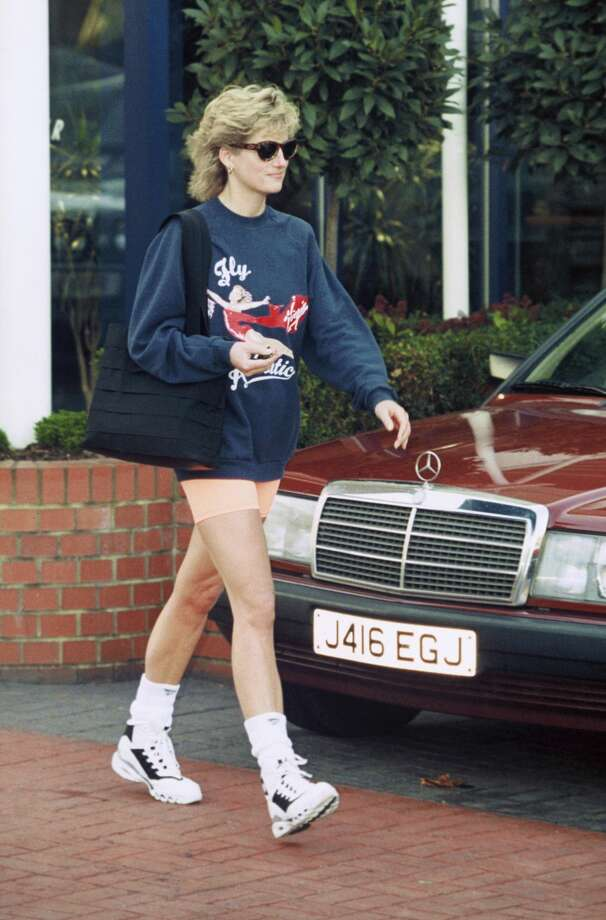 The baggy Virgin Atlantic sweatshirt Princess Diana wore to discourage media interest in her exercise routine is for sale. Boston-based RR Auction says the dark blue cotton-polyester sweatshirt that was a gift from airline founder Richard Branson is expected to get more than $5,000 during the online auction. Photo: Anwar Hussein/Getty Images