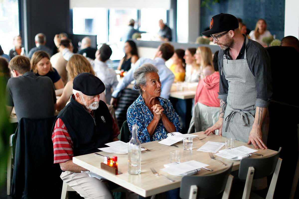 Chef Anthony Strong chats with diners at Prairie in San Francisco, Calif., on Wednesday, June 26, 2019.