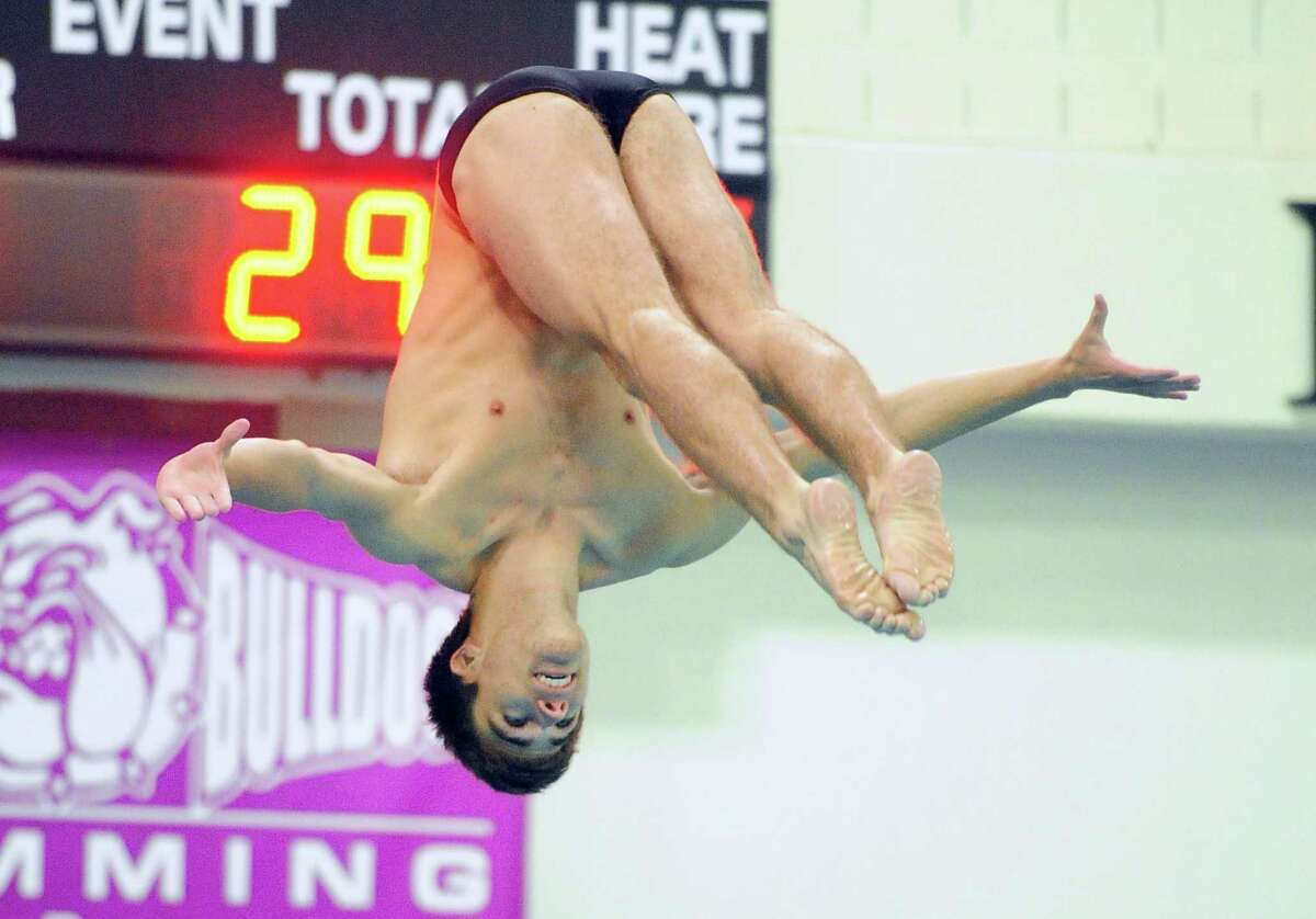 Brien McMahon/Norwalk's Kevin Bradley competes in State Open Diving Championship action in Hartford, Conn., on Tuesday Mar. 12 2019.