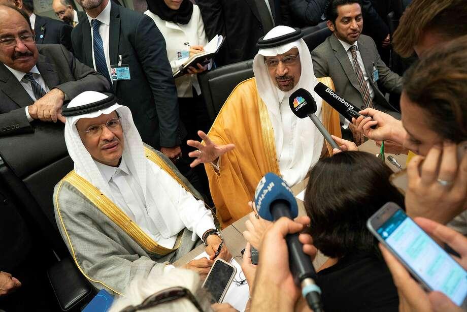 Saudi Arabia's Energy Minister Khaled al-Falih (R) and Saudi Deputy Oil Minister Prince Abdulaziz bin Salman bin Abdulaziz talk to the press on the sidelines of the 176th meeting of the Organization of the Petroleum Exporting Countries (OPEC) conference and the 6th meeting of the OPEC and non-OPEC countries on July 1, 2019 in Vienna, Austria. (Photo by JOE KLAMAR / AFP)JOE KLAMAR/AFP/Getty Images Photo: Joe Klamar, AFP/Getty Images