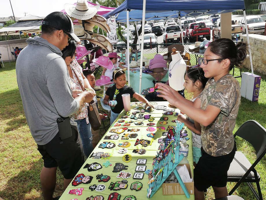Lillisette and Darrien Rodriguez had their beaded pixel art for sale at the first ever Laredo Kids Fair, Saturday, June 29, 2019, where young entrepreneurs offered items for sale at the North Central Park. Photo: Cuate Santos/Laredo Morning Times