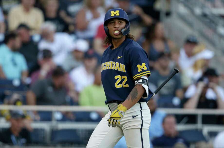 Michigan's Jordan Brewer (22) reacts after striking out against Vanderbilt during the third inning in Game 3 of the NCAA College World Series baseball finals in Omaha, Neb., Wednesday, June 26, 2019. (AP Photo/Nati Harnik) Photo: Nati Harnik, Associated Press / Copyright 2019 The Associated Press. All rights reserved