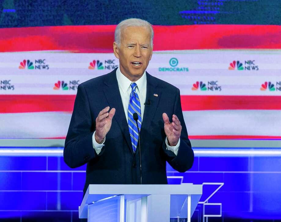 Democratic presidential candidate former Vice President Joe Biden speaks during the second night of the first Democratic presidential debate on Thursday. Photo: Al Diaz / TNS / Miami Herald