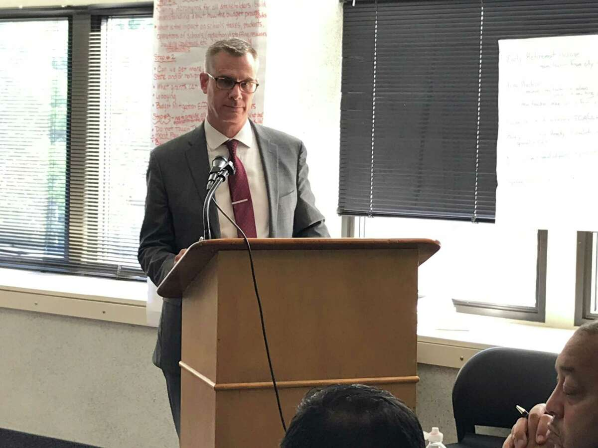 New Haven Public Schools COO Michael Pinto at a July 1, 2019, Finance and Operations Committee meeting.