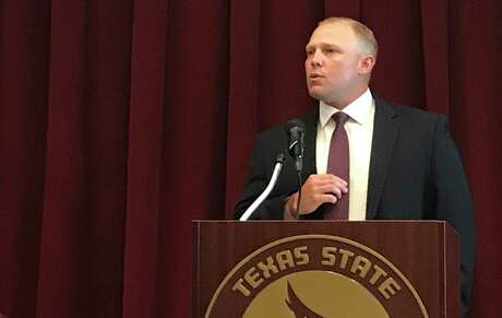 Texas State baseball coach Steven Trout speaks during his introductory news conference on Monday, July 1, 2019, at Texas State in San Marcos.