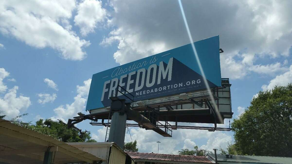 One of two pro-abortion billboardssit on I-20 in Waskom weeks after the East Texas town's all-male city council voted to ban abortion there despite not having abortion clinics.