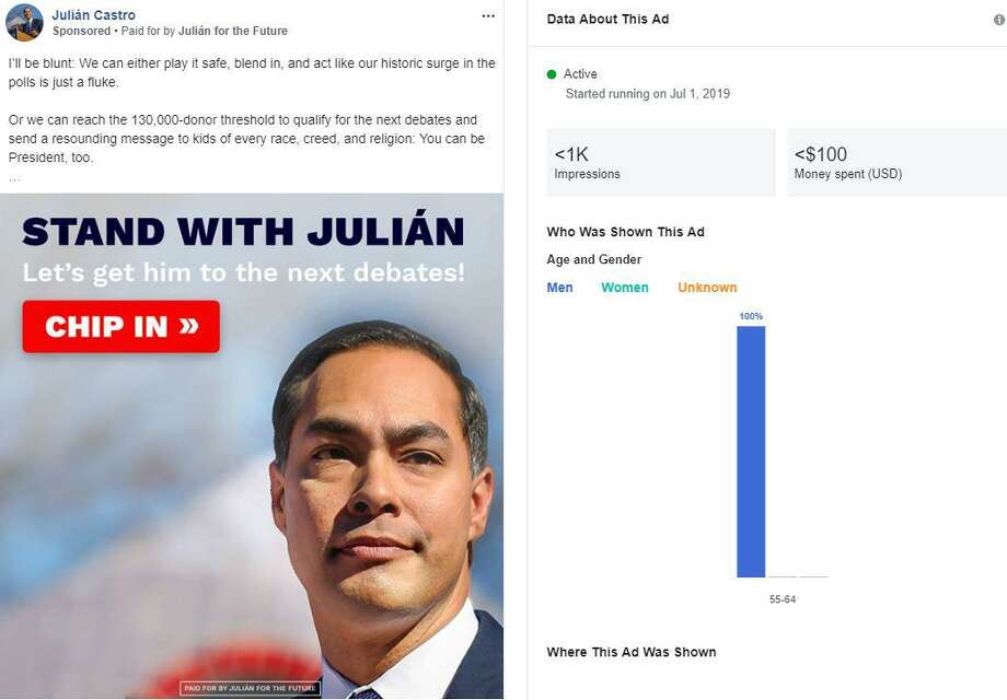 Democrat Julian Castro, competing in a field of two dozen 2020 presidential candidates, followed up his strong debate performance June 26 with a flurry of Facebook ads aimed at building momentum and clearing the hurdle of 130,000 individual donors to qualify for the next round of debates. There were several different versions of this ad targeting different demographics. This ad was aimed at men 55 years old and older. Screenshot from Facebook Ad Library. Photo: Screenshot