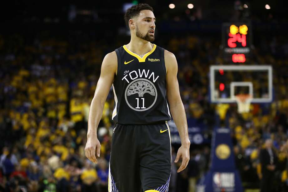 Klay Thompson #11 of the Golden State Warriors reacts in the first half against the Toronto Raptors during Game Six of the 2019 NBA Finals at ORACLE Arena on June 13, 2019 in Oakland, California. Photo: Ezra Shaw, Getty Images