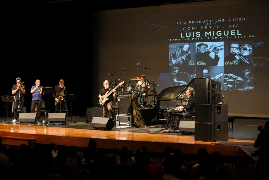 Members of the Luis Miguel Band (No Pals) & LM Horn Section perform during a concert/clinic, Monday, Jul 7, 2019, at the UISD Student Activity Complex. Photo: Danny Zaragoza/Laredo Morning Times