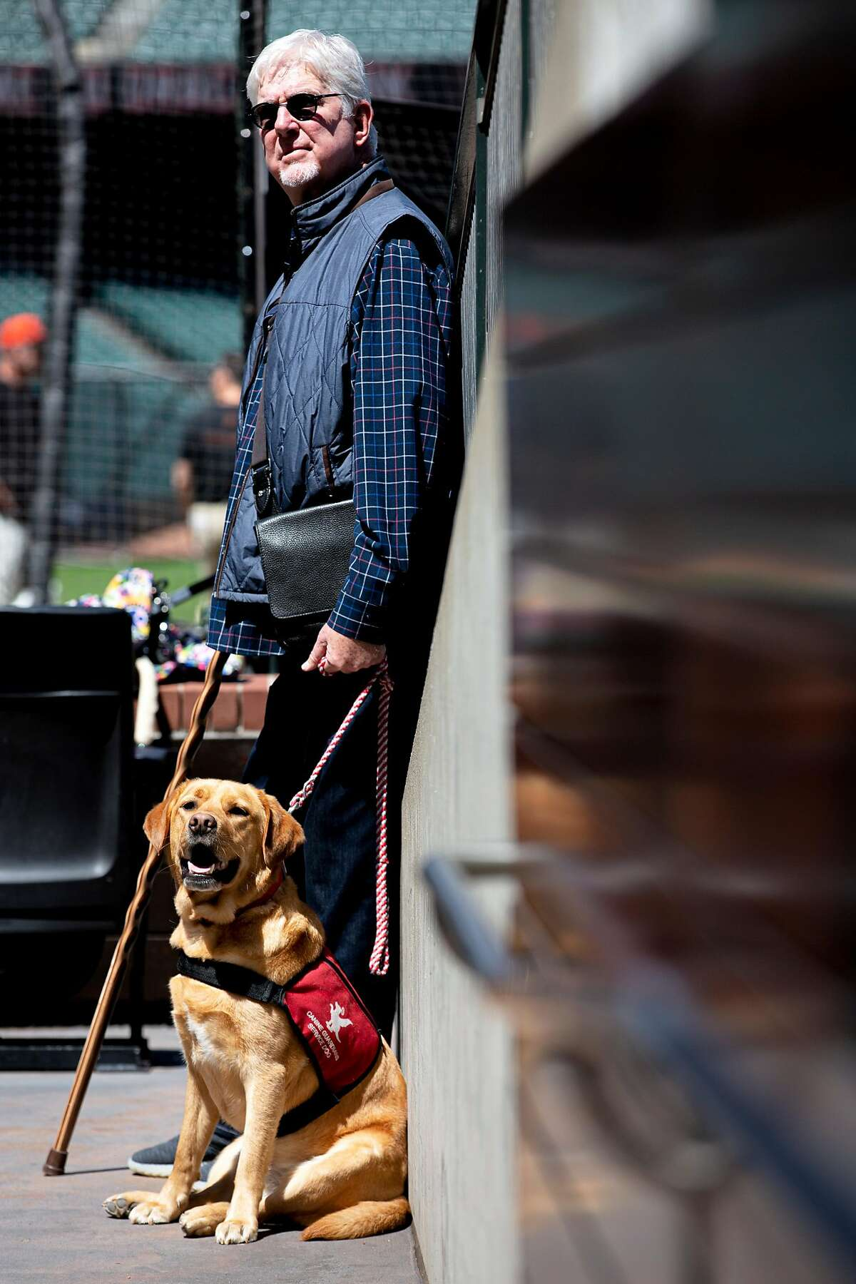 Giants broadcaster Mike Krukow and his service dog Patriot at Oracle Park.