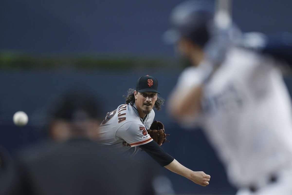 San Francisco Giants starting pitcher Jeff Samardzija works against a San Diego Padres batter of a baseball game Monday, July 1, 2019, in San Diego. (AP Photo/Gregory Bull)