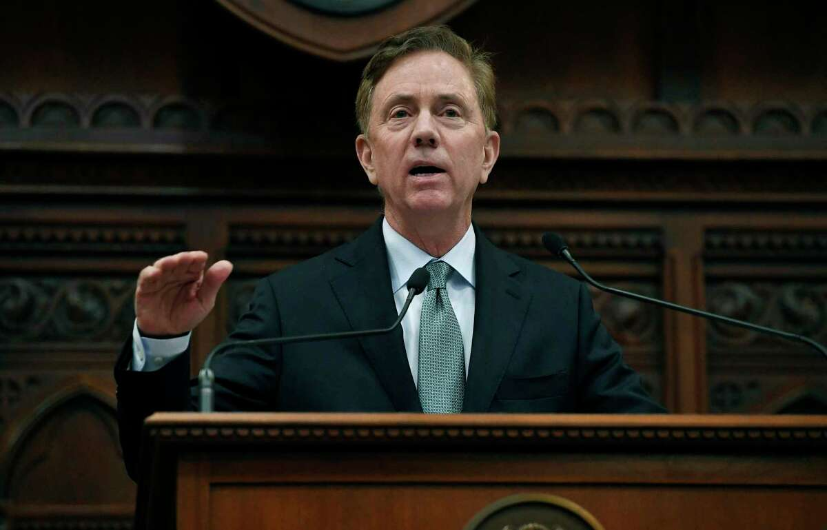 In this Feb. 20, 2019 photo, Connecticut Gov. Ned Lamont delivers his budget address at the State Capitol in Hartford, Conn. (AP Photo/Jessica Hill, File)