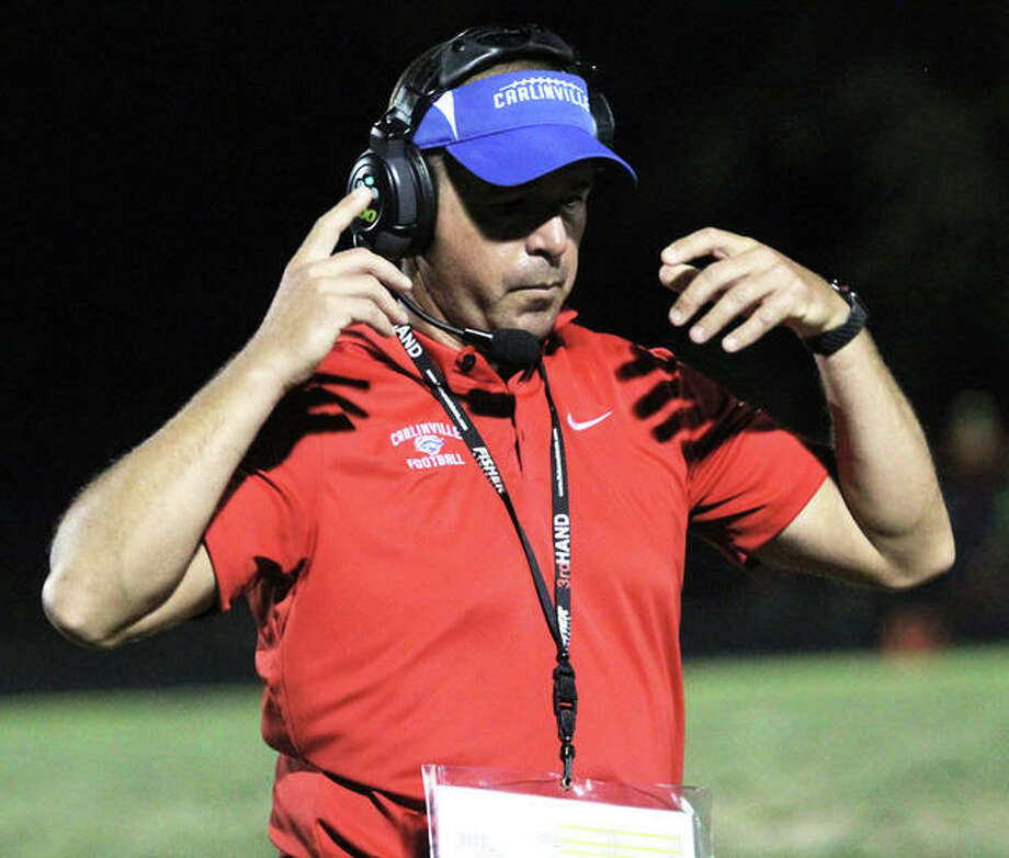 Carlinville's Chad Easterday is the 2018 Telegraph Small-Schools Football Coach of the Year. It is the third straight coach of the year honor for Easterday, who led the Cavaliers to a 12-1 season. Photo: Greg Shashack / The Telegraph