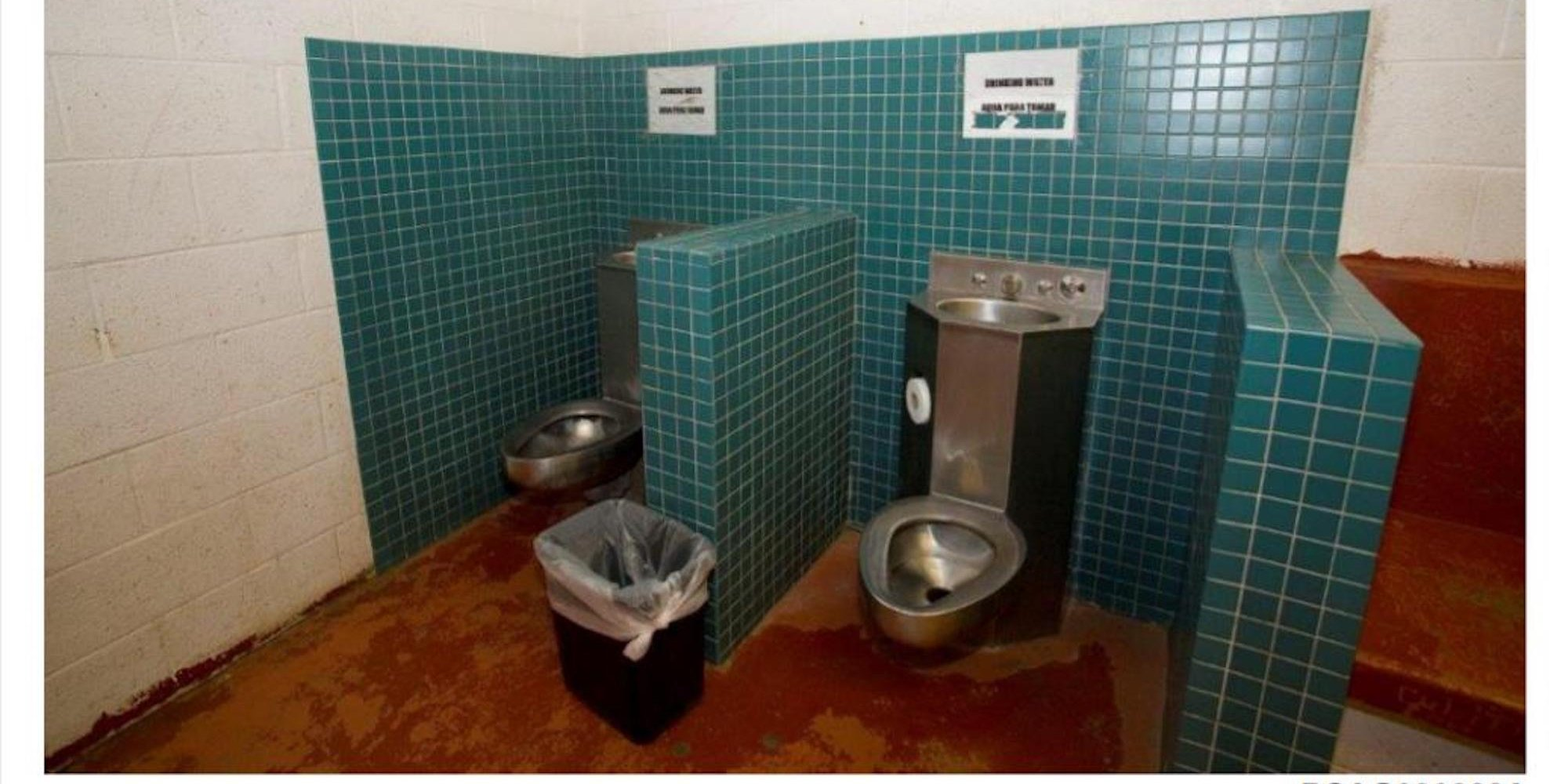 Photo shows hybrid of toilet and drinking fountain in