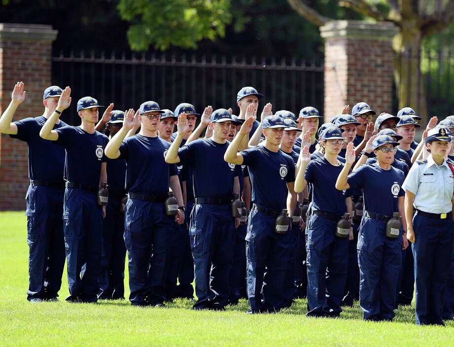 Members of the U.S. Coast Guard Academy Class of 2023 take their oath of office on Day One of Swab Summer Monday, July 1, 2019 in New London, Conn. Photo: Sean D. Elliot / Associated Press / 2019 The Day Publishing Company