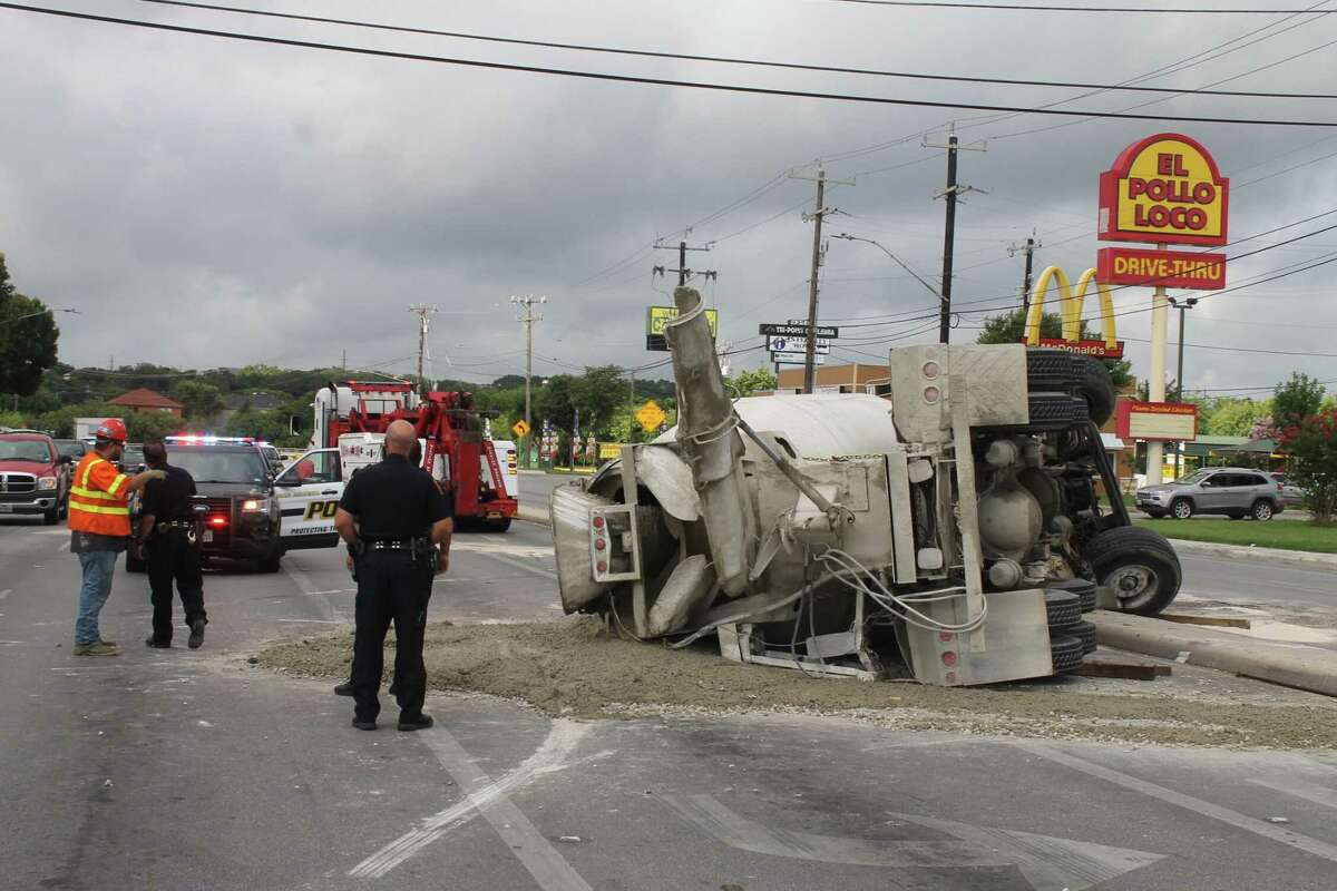 A concrete truck rolled over during a right turn onto Culebra Road near Tezel and Grissom roads on July 2, 2019.