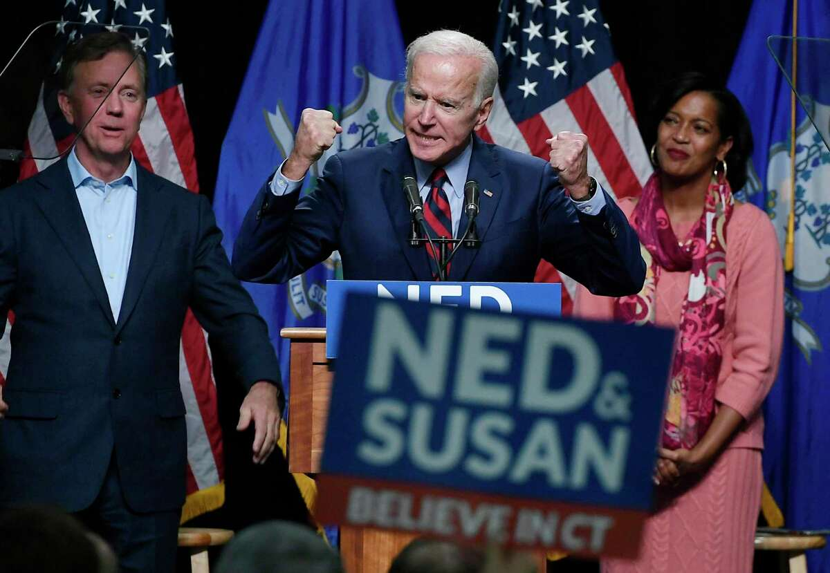 >> Click through the slideshow to see what promises Democratic presidential candidates have made. Former Vice President Joe Biden speaks at a rally supporting Democrats as Ned Lamont for candidate for Governor, left, and Jahana Hayes, candidate for Congress, right, look on in Hartford, Conn., Friday, Oct. 26, 2018. (AP Photo/Jessica Hill)