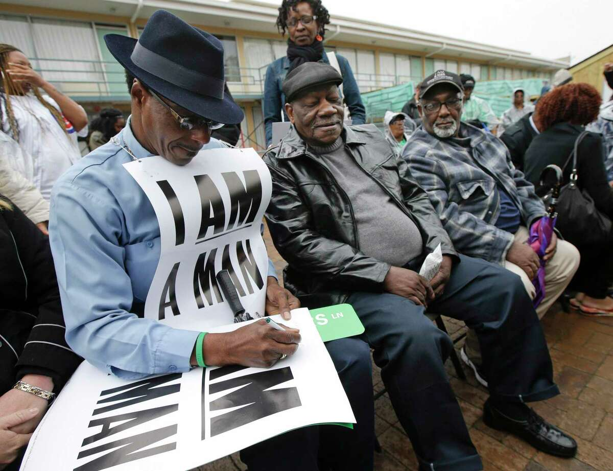 The National Education Association is honoring Baxter Leach, right, and other surviving members for their participation in the 1968 sanitation workers strike in Memphis.