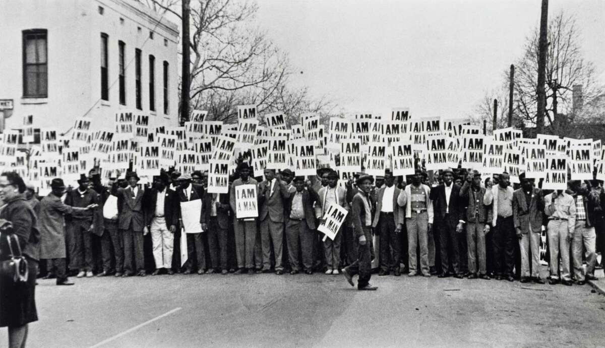 """Ernest C. Withers' """"I Am A Man, Sanitation Workers Strike, Memphis, Tennessee, March 28, 1968"""" was on view in """"Statements: African American Art from the Museum Collection"""" at the Museum of Fine Arts, Houston"""