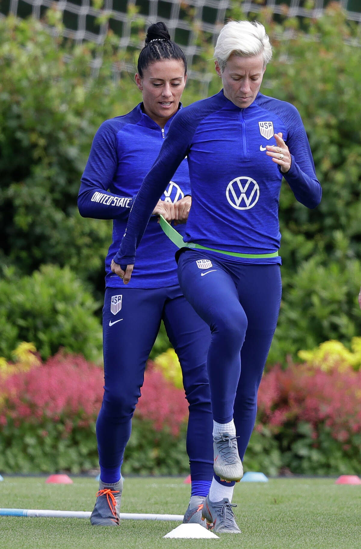 """Teammates have Rapinoe's back Ali Krieger (pictured above), who also plays on the United States team, responded to Donald Trump's Twitter thread: """"I know women you cannot control or grope anger you, but I stand by (Megan) & will sit this one out as well. I don't support this administration nor their fight against LGBTQ+ citizens, immigrants & our most vulnerable."""""""