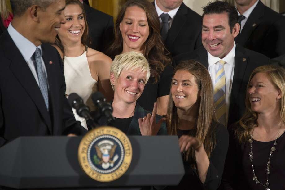"""Feud with Donald Trump An interview recently was released of Rapinoe being asked if she would go to the White House should the United States win the Women's World Cup. """"I'm not going to the f***ing White House."""" She also said she doubted the team even would be invited. President Donald Trump fired back in a string of tweets last week including """"Megan should WIN first before she TALKS!"""" Trump also tweeted that he'd be inviting the team whether they win or lose. Rapinoe did attend the White House after the United States won the World Cup in 2015. Photo: JIM WATSON/AFP/Getty Images"""