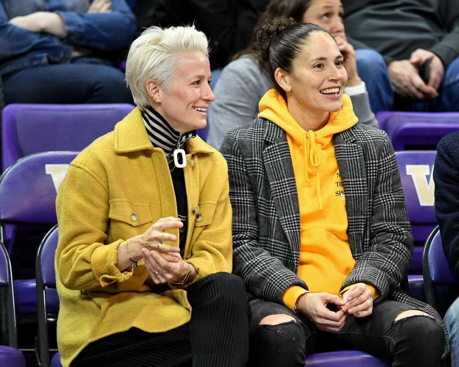 SEATTLE, WASHINGTON - JANUARY 27: Power couple, USWNT forward Megan Rapinoe and Seattle Storm guard Sue Bird enjoy the game at the Alaska Airlines Arena on January 27, 2019 in Seattle, Washington. (Photo by Alika Jenner/Getty Images) Photo: Alika Jenner/Getty Images