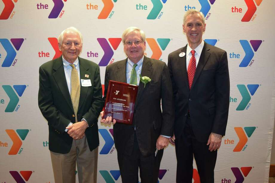 The Central Connecticut Coast YMCA recently awarded the H. Richard Brew Volunteer Service Award to Jon Leckerling of Madison, for his long time service and commitment to the Y. From left are Robert Fiscus, CCC Y Board of Trustees Chair; Jon Leckerling, Richard Brew Volunteer Service Award Recipient; and David Stevenson, CCC Y President & CEO. Photo: Contributed Photo /