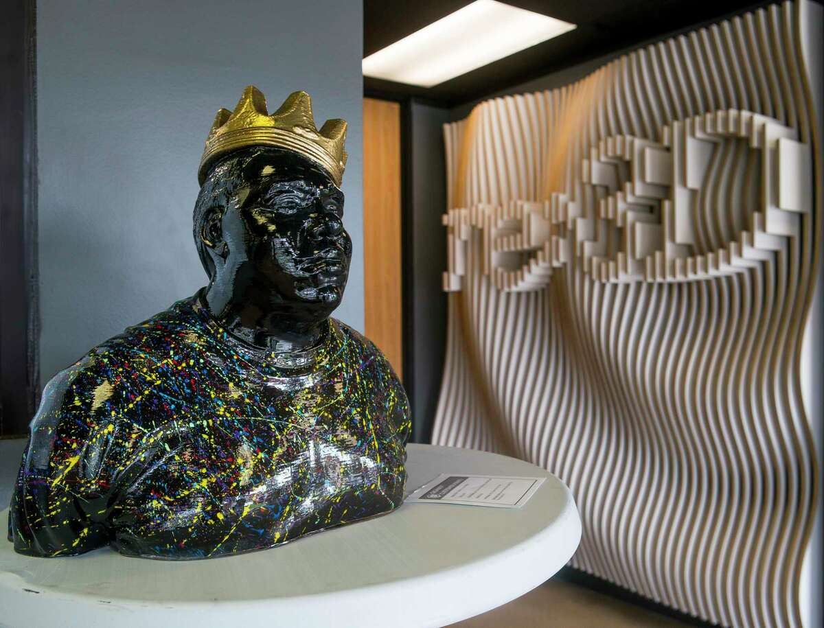 A sculpture of the Notorious B.I.G. that was printed with a Gigabot printer made by re:3D sits in the company's showroom in southeast Houston, Monday, June 24, 2019.