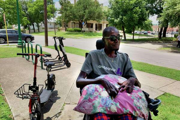"Lorne Self, who lives in a nursing home in downtown San Antonio, said abandoned e-scooters create an obstacle course for people in wheelchairs. ""When they're lying down, we can't get around them,"" he said."