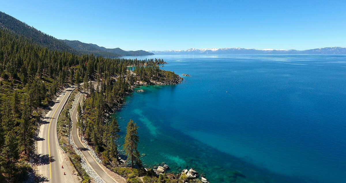A photograph from a drone flyover shows the new Tahoe Bike Path along State Route 28 from Incline Village to Sand Harbor State Park