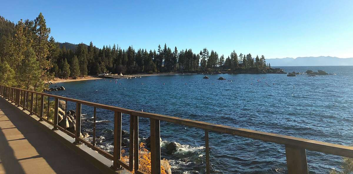 Crews work to install pilings for a bridge on a new section of the Tahoe Bike Trail that spans from Incline Village to Sand Harbor State Park
