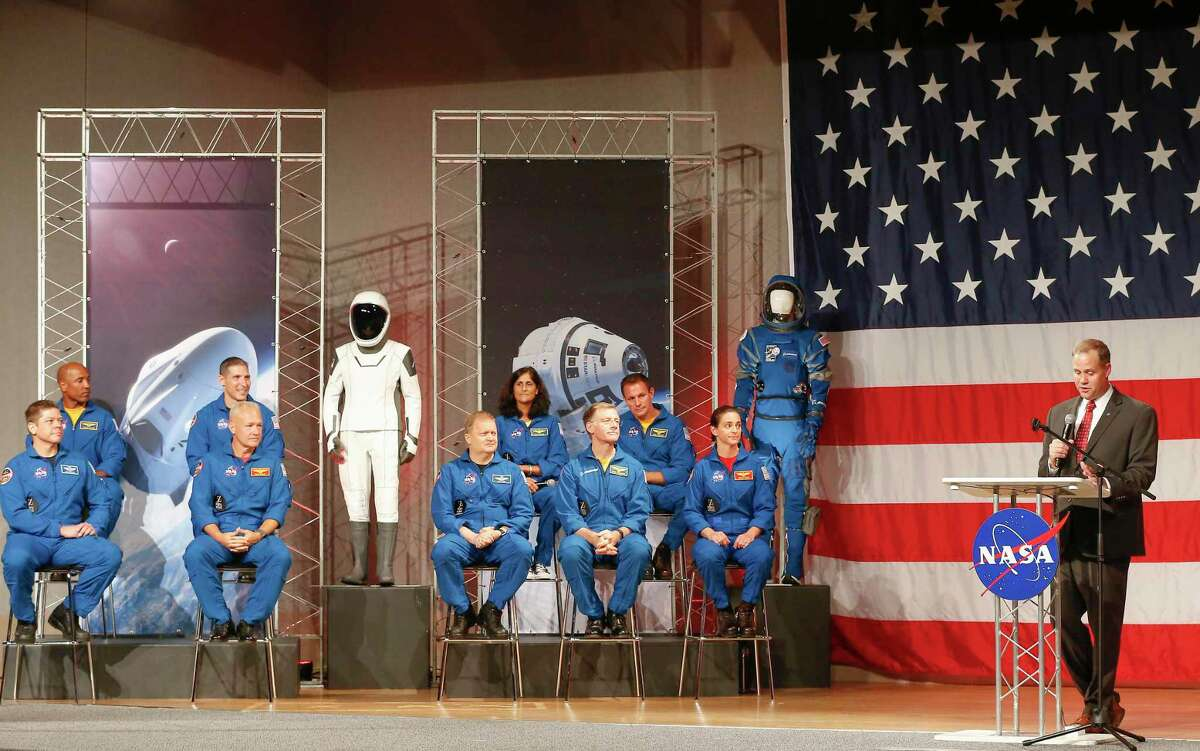 NASA Administrator Jim Bridenstine announced the crew assignments for the crew flight tests and the first post-certification mission for both Boeing and SpaceX Friday, Aug. 3, 2018, in Houston.