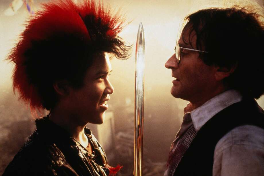 """Actors Dante Basco and Robin Williams on the set of the film """"Hook,"""" directed by Steven Spielberg. Photo: Murray Close/Sygma Via Getty Images"""