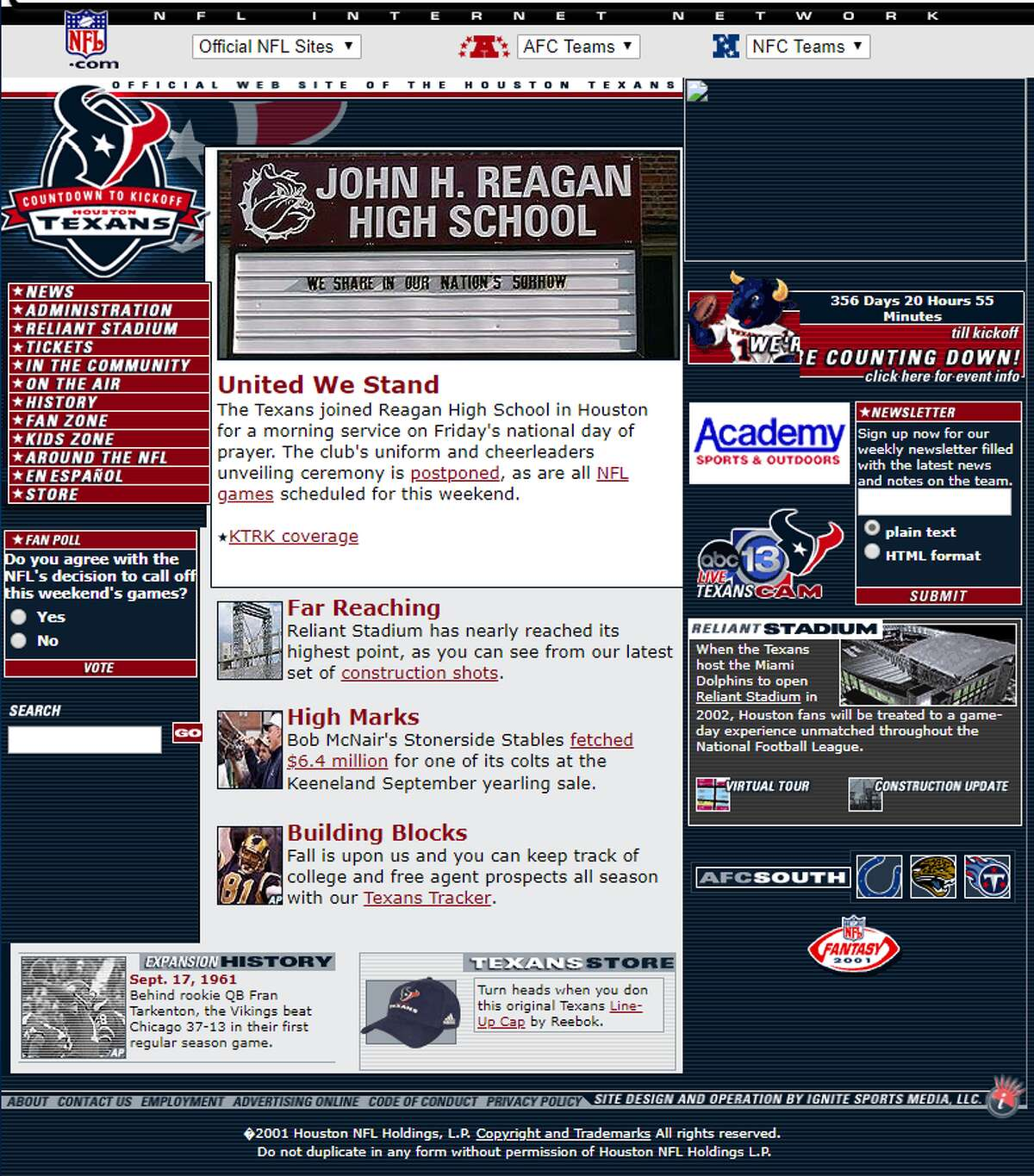 Houston Texans Website: www.HoustonTexans.com Screen capture date: March 25, 2002 >>>Click through to see how the look for websites of various Houston organizations and businesses looked 15 to 20 years ago.
