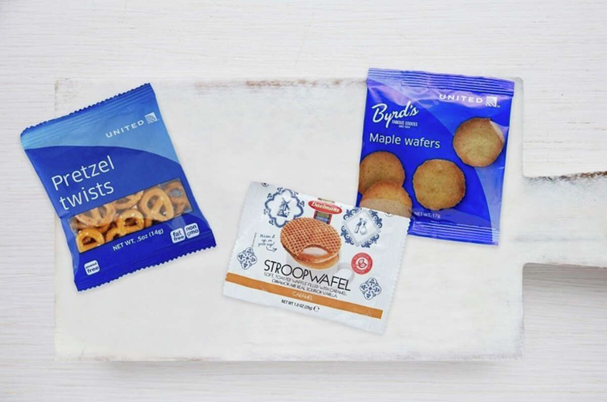 United now gives main cabin passengers a choice of free snacks at all hours.